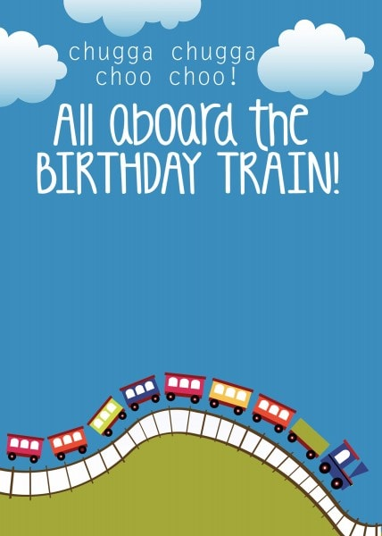 train birthday party invitation template