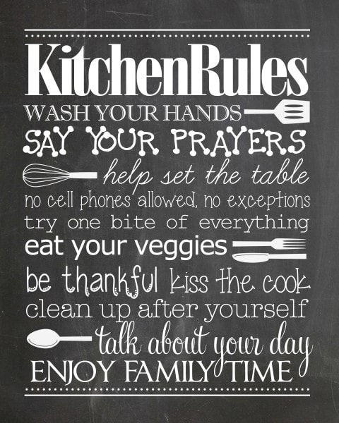 Kitchen Rules free printable