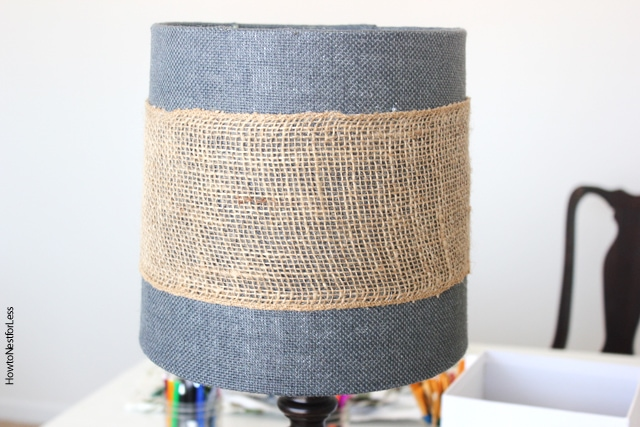 burlap accent on lamp shade