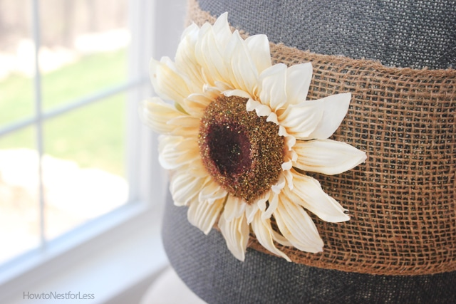 burlap lamp shade makeover