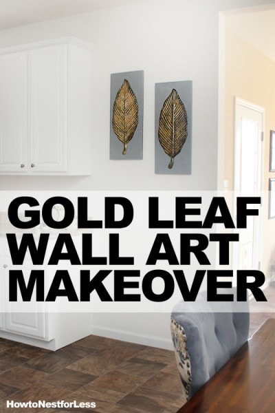 gold leaf wall art makeover