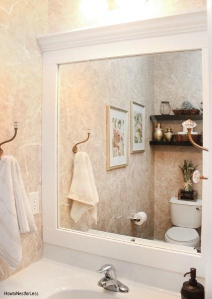powder room framed mirror