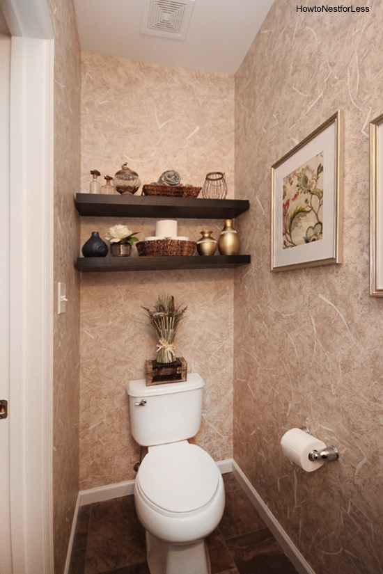 Small Powder Room Shelves