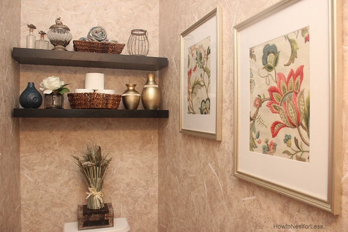 powder room makeover how to nest for less rh howtonestforless com decorating powder room shelves powder room floating shelves