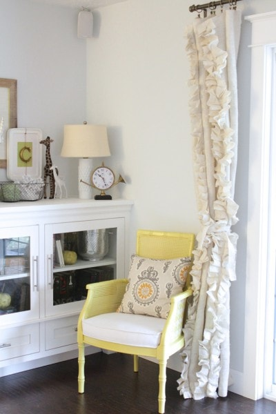 ruffled burlap curtain panels