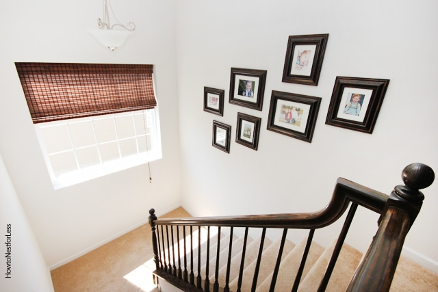 staircase photo gallery wall