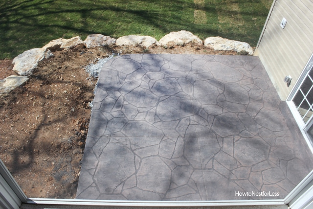stamped concrete backyard patio