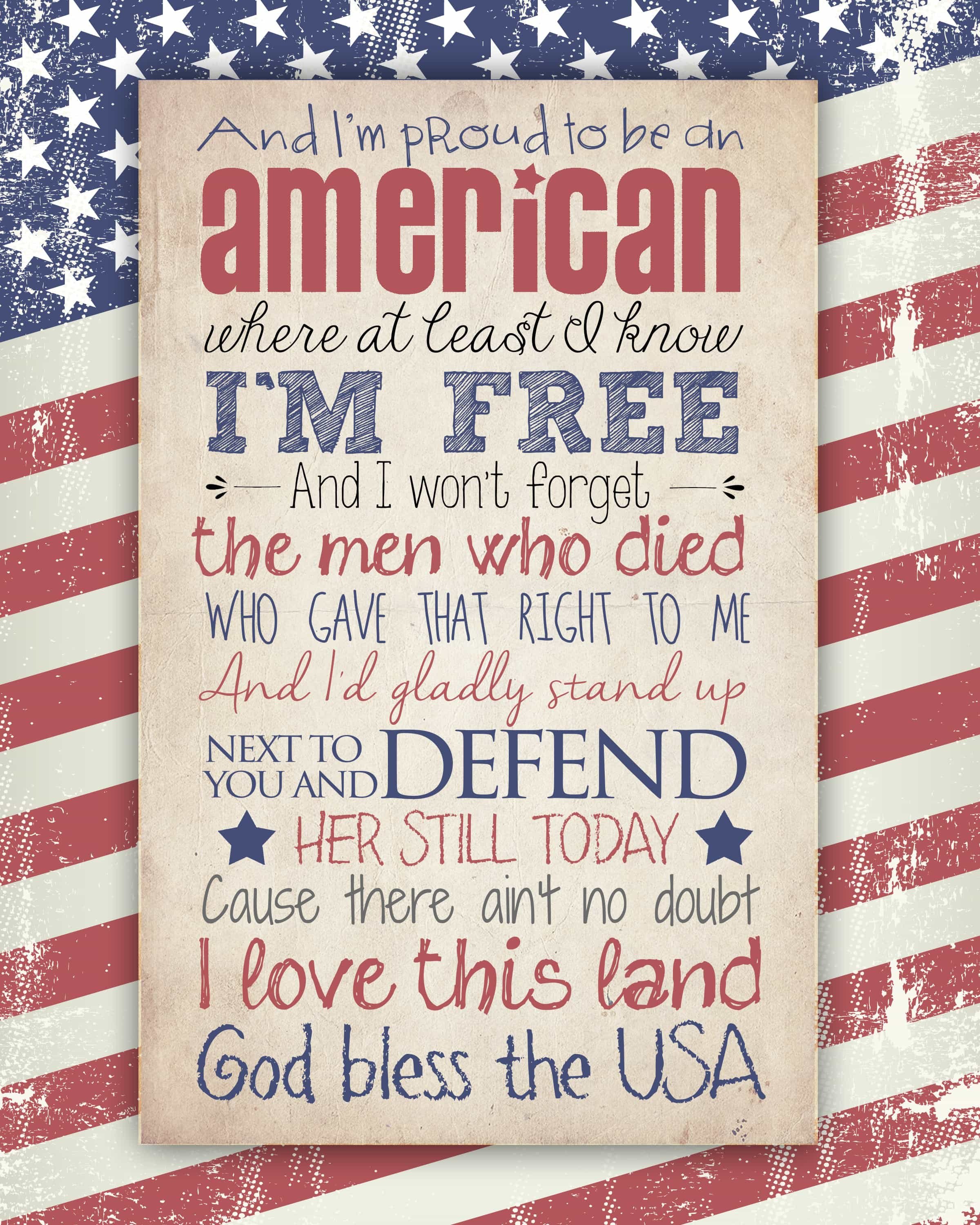 God Bless the USA Free Printable