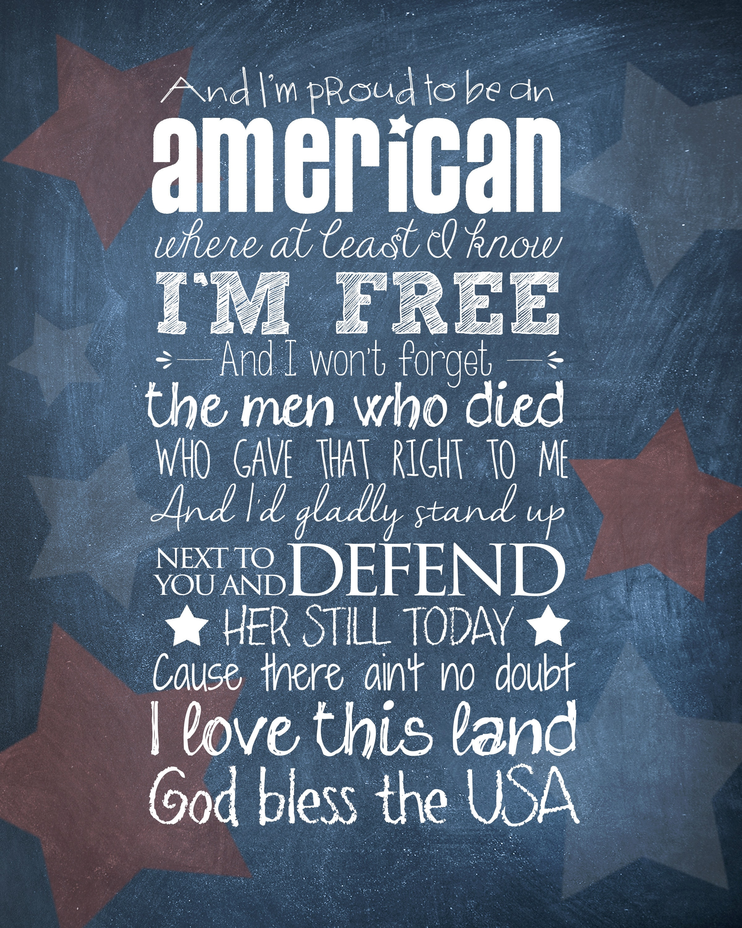 God Bless the USA printable