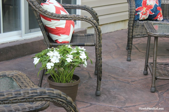 backyard stamped patio makeover