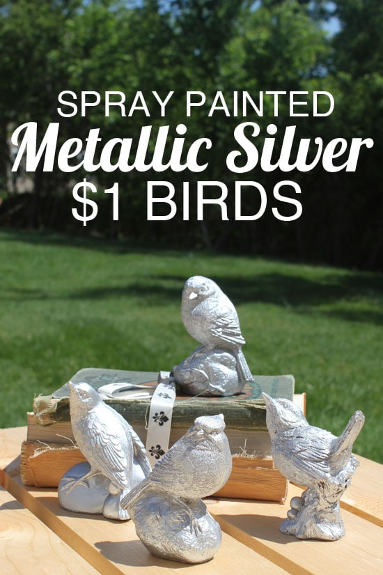metallic silver painted birds