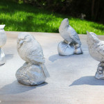 metallic silver spray painted birds
