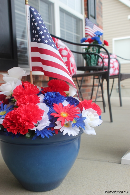 red white and blue front porch