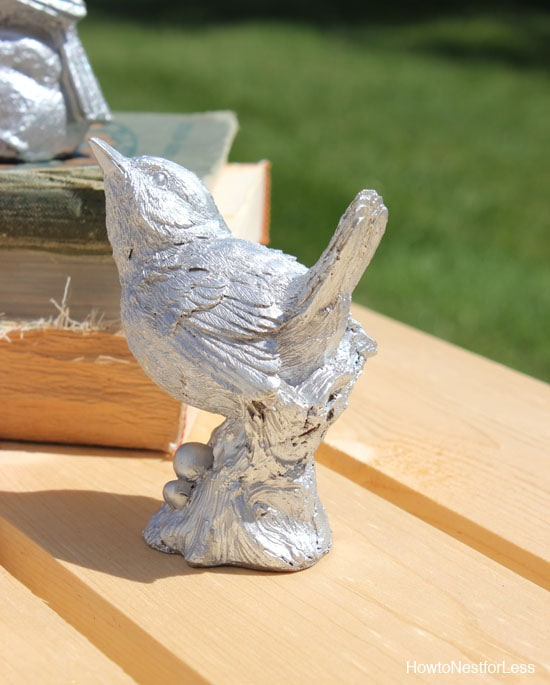 silver metallic painted birds
