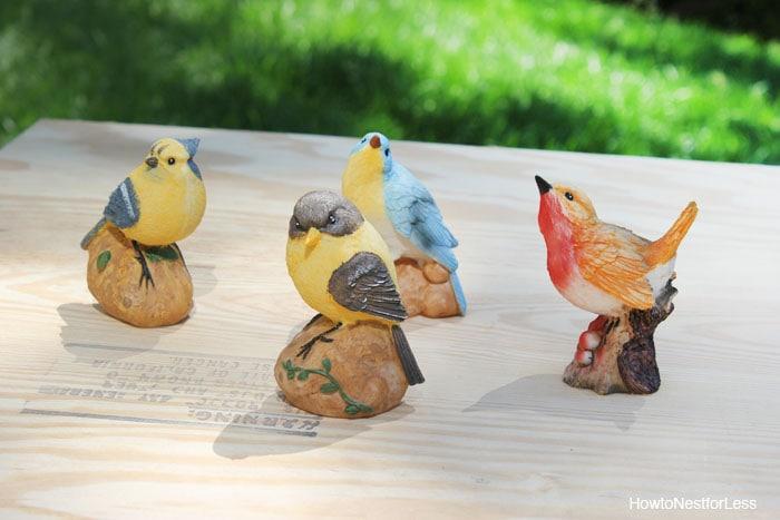 spray painted metallic birds