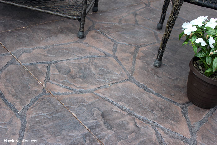 stamped concrete patio makeover