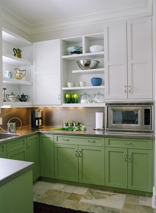 Unexpected pop of color kitchen cabinets how to nest for Kitchen cabinets for less