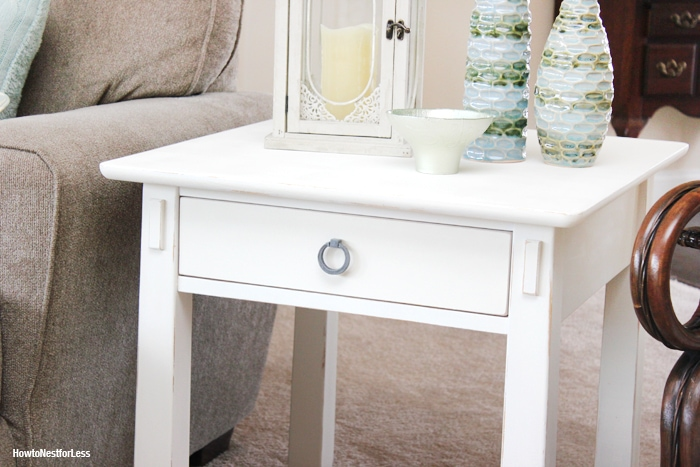 ASCP distressed white end table