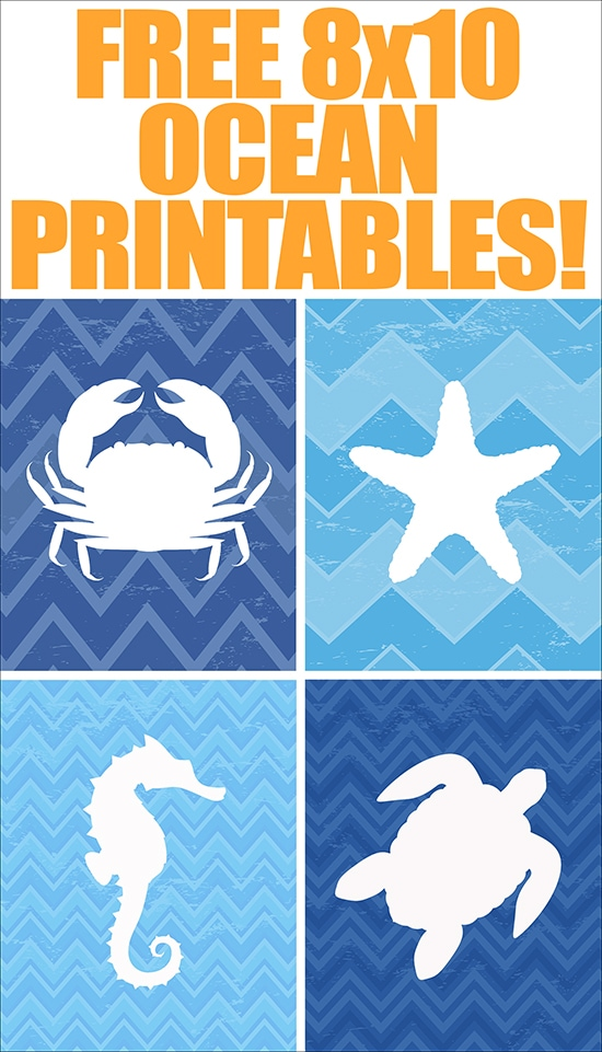 Ocean Animal FREE Printables set of 4 How to Nest for Less