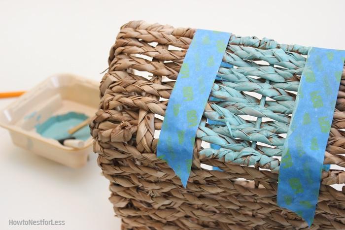 beachy bathroom makeover painted basket