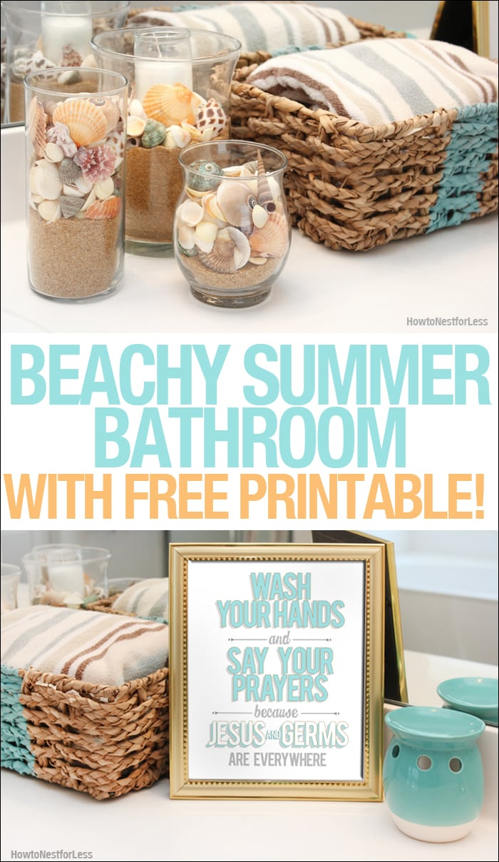 Beachy Summer Bathroom Makeover + FREE Bathroom Printable