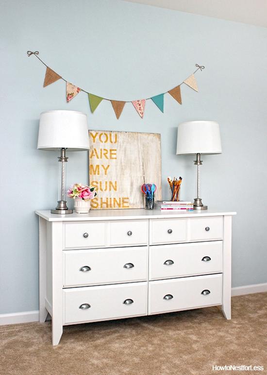 craft room white dresser organization