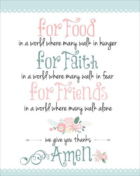 Dinner Prayer Free Printable