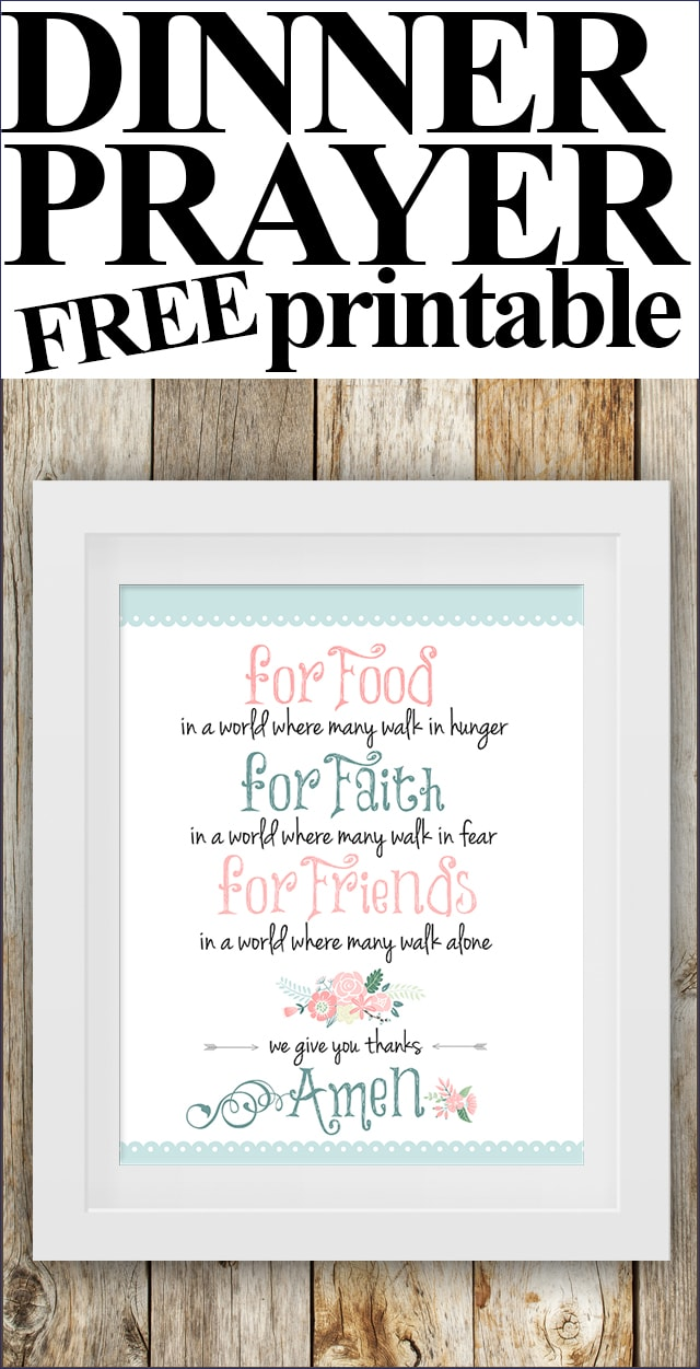 dinner prayer free printable