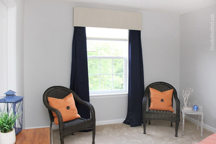 diy window cornice bedroom makeover
