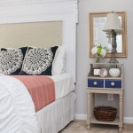 guest bedroom navy and orange