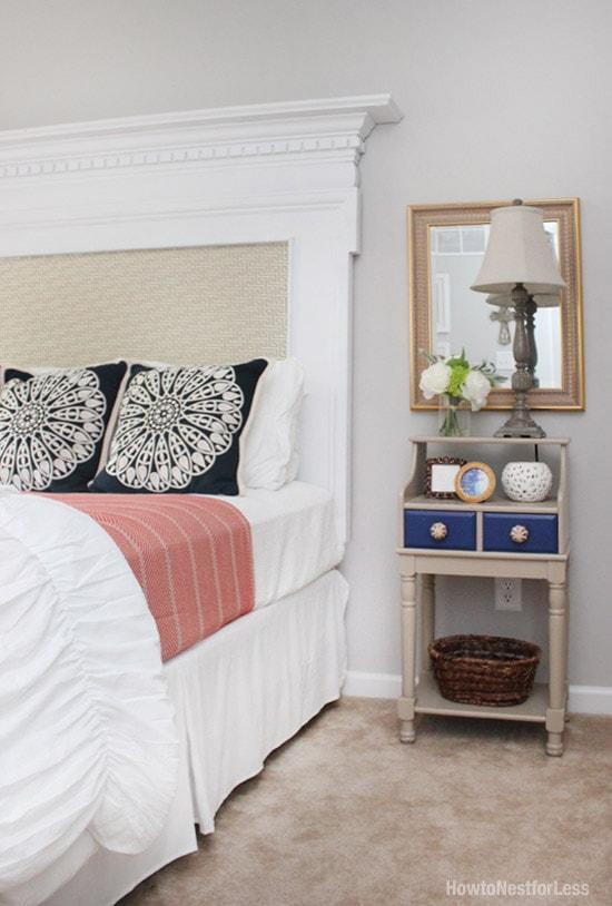 guest bedroom navy and orange