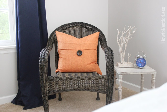 guest bedroom navy orange makeover