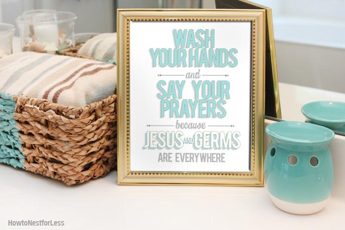 jesus and germs bathroom printable
