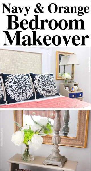 navy and orange bedroom makeover