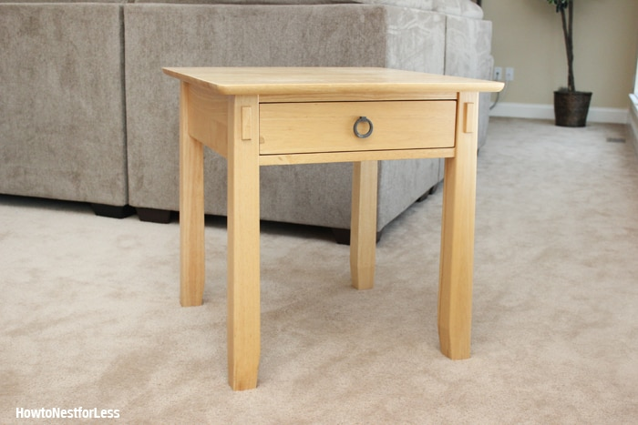 old white ASCP end table before