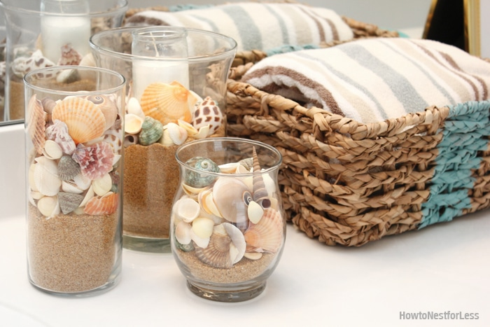 Seashell hurricanesBeachy Summer Bathroom Makeover   FREE Bathroom Printable   How to  . Seashell Bathroom Decor. Home Design Ideas