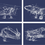 Vintage Sketch Airplane Posters {set of 4}