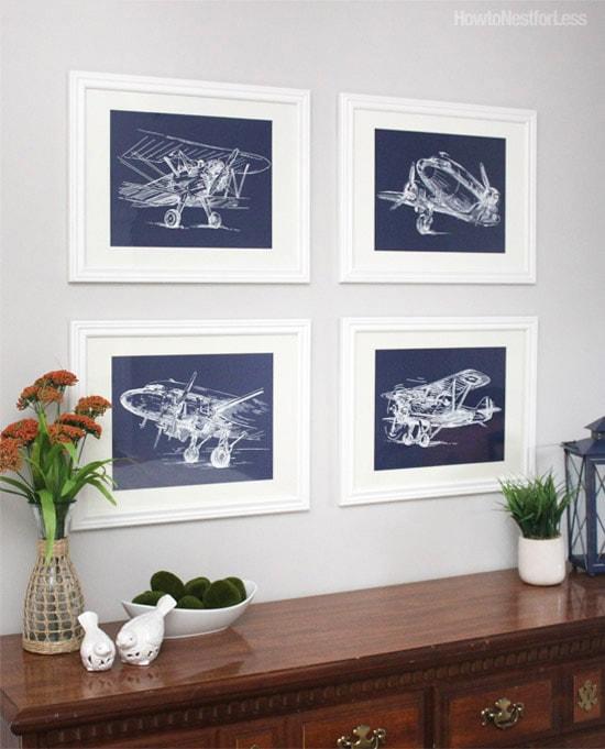 sketch airplane navy printables