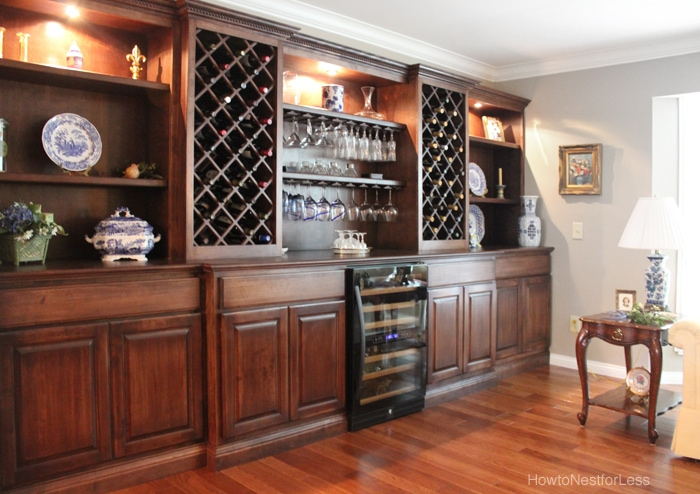 Living Room Wine Cabinet Built Ins - How to Nest for Less™