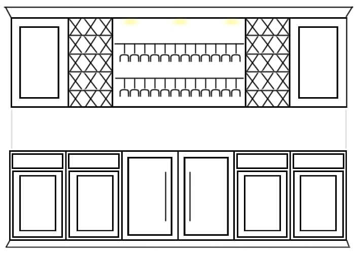 wine cabinet built ins sketch