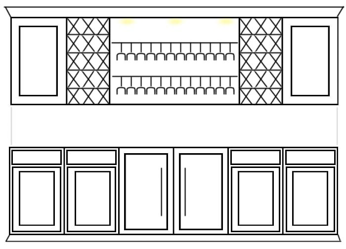 wine cabinet built ins sketch