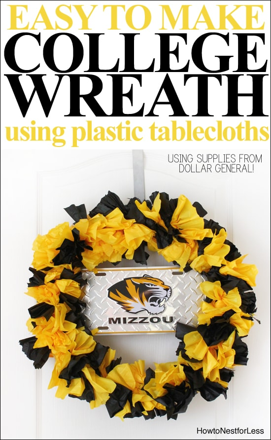 college wreath using plastic tablecloths