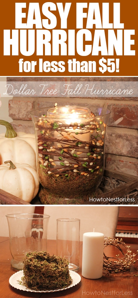 5 Minute Fall Hurricane Centerpiece on the cheap How  : dollar tree fall hurricane from howtonestforless.com size 461 x 996 jpeg 473kB