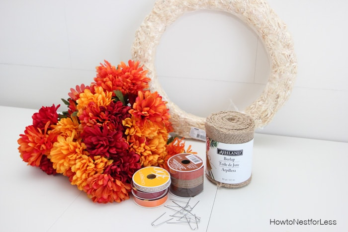 fall burlap flower wreath supplies