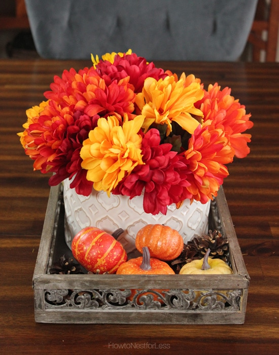 fall centerpiece pumpkins flowers