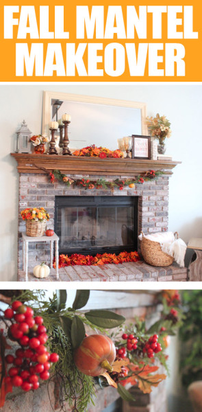 Fall fireplace mantel makeover poster.