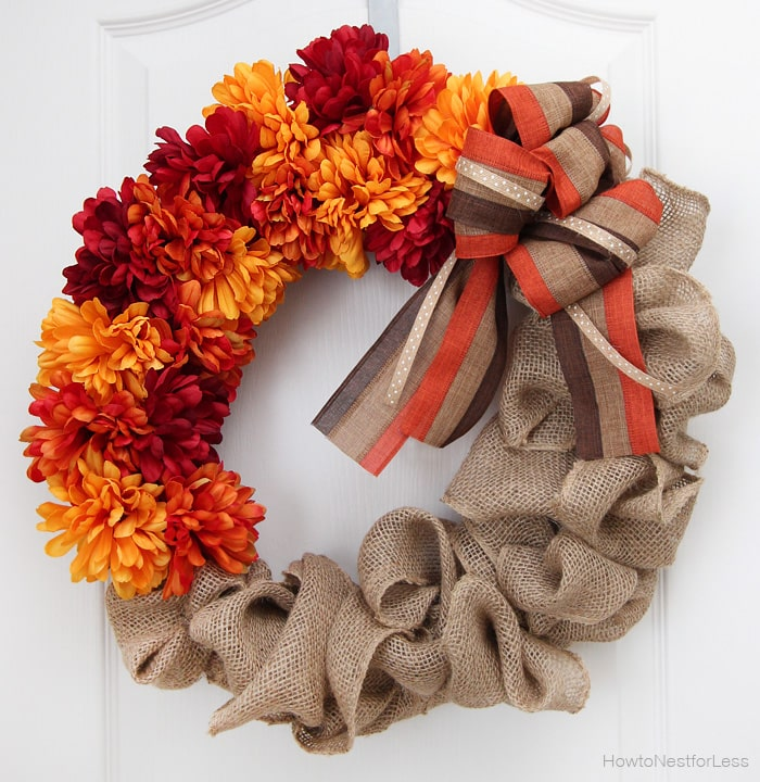 Fall Burlap and Flower Wreath