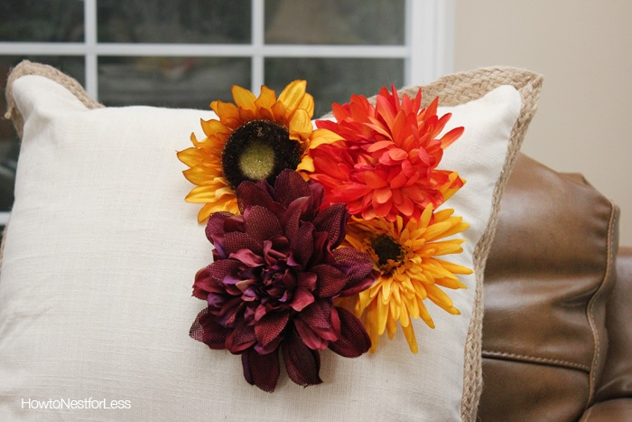 fall home decor flowered pillows