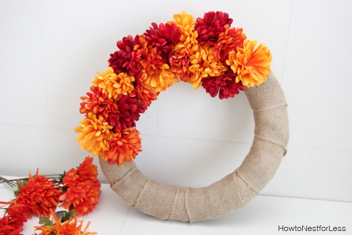 flower burlap fall wreath