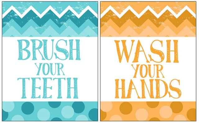 Free bathroom printable with chevron listerine how to for Bathroom decor printables